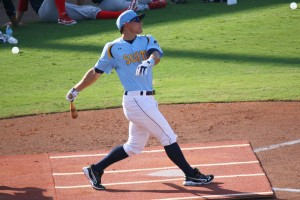 Derek Dietrich of the Charlotte Stone Crabs takes cuts in Round One