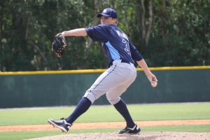 Parker Markel pitched a perfect inning for the Stone Crabs in the ninth.