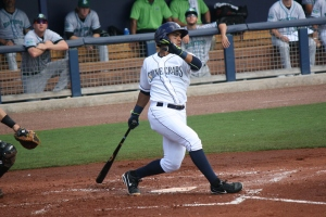 Juniel Querecuto drove home all three of the Stone Crabs runs.  (Photo: Jim Donten)