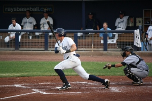 Granden Goetzman scored three runs and delivered a triple in a 3 for 4 night.  (Photo: Jim Donten)