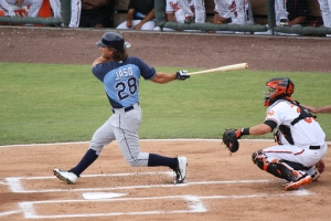 John Jaso was 2 for 3 in his first rehab appearance with the Stone Crabs.  (Photo: Jim Donten)