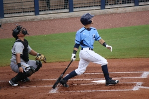 Andrew Velazquez had two hits on the night including a double in the first inning.  (Photo: Jim Donten)